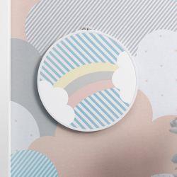 Quadro Bastidor Arco-Íris Listrado Azul/Branco/Salmão 20cm