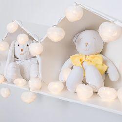 Fio de Luz Coração Branco 3,05m com 20 Corações