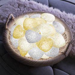 Fio de Luz Coração Branco/Amarelo/Palha 3,05m com 20 Corações
