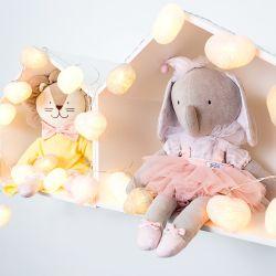 Fio de Luz Coração Rosa/Cinza/Branco 3,05m com 20 Corações