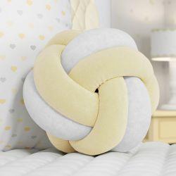 Almofada Nó Balú Branca/Amarela 25cm