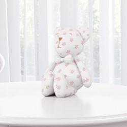 Ursinha Floral com Laço Branco 15cm