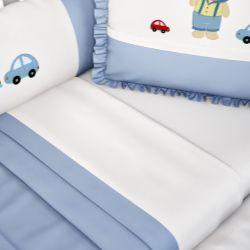 Jogo de Lençol Branco com Barra Branca/Azul Bebê