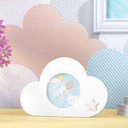 Porta Retrato MDF Nuvem com Estrelinha 7cm