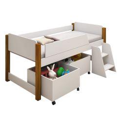 Cama Infantil Elevada Camomila com Caixas de Brinquedo