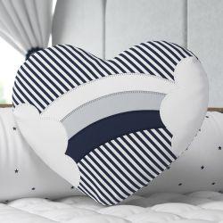 Almofada Coração Bordado Arco-Íris Azul Marinho 30cm