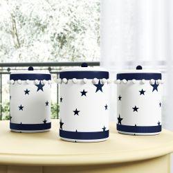 Jogo de Potes Estrelinhas e Pompons Azul Marinho