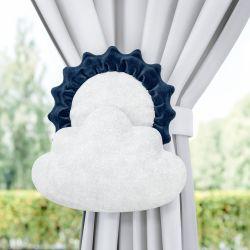 Prendedor de Cortina Sol e Estrela na Nuvem Azul Marinho