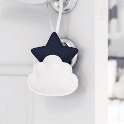 Enfeite para Puxador Estrela na Nuvem de Algodão Azul Marinho