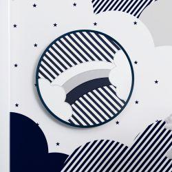Quadro Bastidor Arco-Íris Listrado Azul Marinho/Branco 20cm