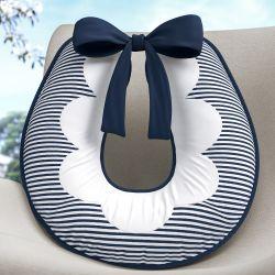 Almofada Amamentação Listrada Azul Marinho/Branco