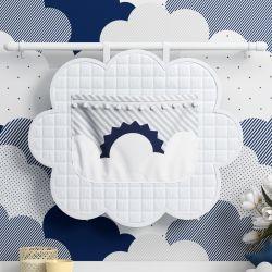 Porta Fraldas Varão Sol na Nuvem de Algodão Azul Marinho