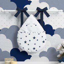 Porta Fraldas Varão Gotinha com Pompom Azul Marinho