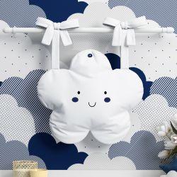 Porta Fraldas Varão Nuvem Azul Marinho