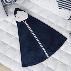 Toalha com Capuz Infantil Nuvem de Algodão Azul Marinho 90cm