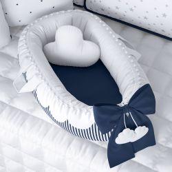 Ninho para Bebê Redutor de Berço Nuvem de Algodão Azul Marinho