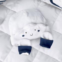 Touca e Luvas para Bebê Nuvem de Algodão Azul Marinho