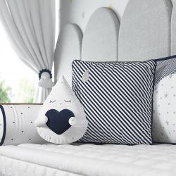 Almofadas Gotinha com Coração e Listrada Azul Marinho 2 Peças