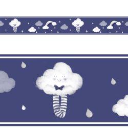 Faixa Adesiva de Parede Nuvem de Algodão Azul Marinho