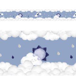 Faixa Adesiva de Parede Solzinho nas Nuvens Azul Marinho