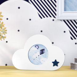 Porta Retrato MDF Nuvem com Estrelinha Azul Marinho 7cm
