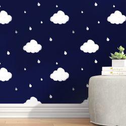 Papel de Parede Nuvens e Gotinhas Azul Marinho 3m