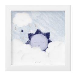 Quadro Solzinho nas Nuvens Azul Marinho