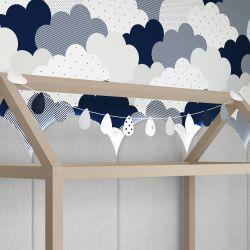 Varal Decorativo Gotinhas e Nuvens Azul Marinho 1,60m