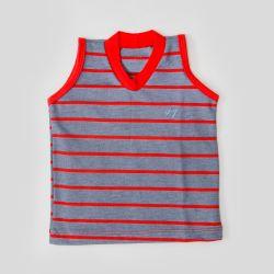 Camiseta Regata Bebê Listrada Vermelha
