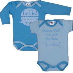 Kit Body Bebê Azul 2 peças