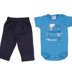 Conjunto Longo Body Bebê Azul
