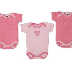 Kit Body Bebê Rosa 3 peças