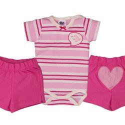 Conjunto Curto Listrado Bebê Rosa