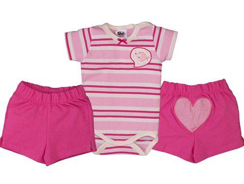 da95090c8a1c93 Conjunto Curto Listrado Bebê Rosa