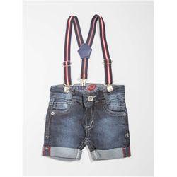 Bermuda Jeans com Suspensório Bebê