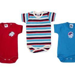 Kit Body Bebê Azul 3 peças