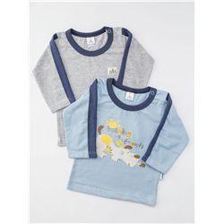Camiseta Manga Longa Azul Kit com 2 peças