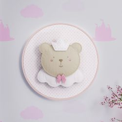 Quadro Bastidor Amiguinha Ursa Princesa 20cm