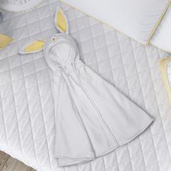 Manta com Capuz Amiguinho Coelhinho Branco e Amarelo