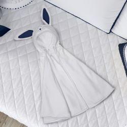 Manta com Capuz Amiguinho Coelhinho Branco e Azul Marinho