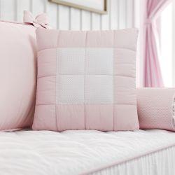 Almofada Matelada Rosa/Branco 38cm