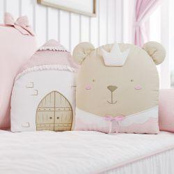 Almofadas Castelo e Amiguinha Ursa Princesa 2 Peças