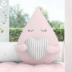 Almofada Gotinha com Coração Rosa 30cm