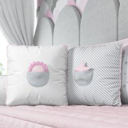 Almofadas com Bolso Solzinho e Estrelinha Rosa 2 Peças