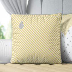 Almofada Listrada Gotinha Amarelo/Cinza 38cm