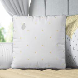 Almofada Estrelinhas Gotinha Branco/Amarelo 38cm