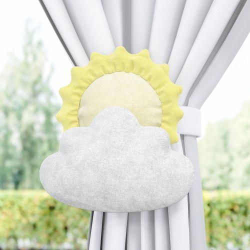 Prendedor de Cortina Sol e Estrela na Nuvem Amarelo/Cinza