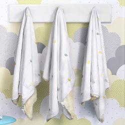Cobertor Bordado Gotinhas Cinza/Amarelo