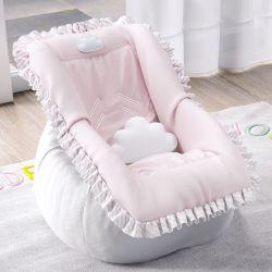 Capa de Bebê Conforto Nuvem de Algodão Rosa