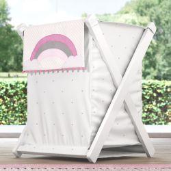 Cesto de Roupas Arco-Íris Listrado Rosa 68cm